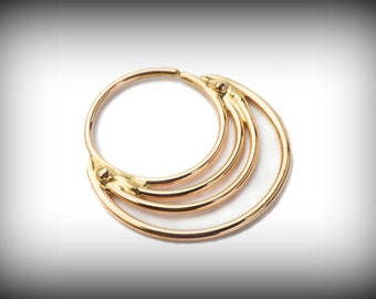 NOSE RING - SEPTUM 14k yellow solid gold - 4 rings design - gold Nose Ring- nose jewelry - septum ring - tragus piercing