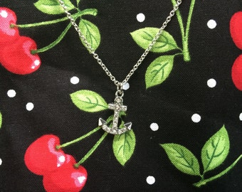 Hey Sailor! Sparkling Anchor Necklace Rockabilly Pinup