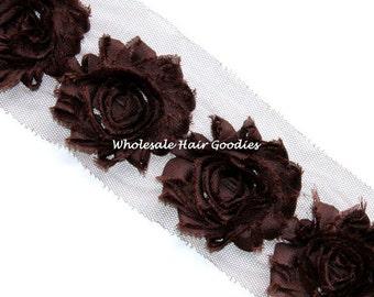 CHOCOLATE BROWN Shabby Flower Trim - Shabby Rose Trim - Frayed Chiffon Shabby Flower - Shabby Chic - 1/2  or 1 Yard
