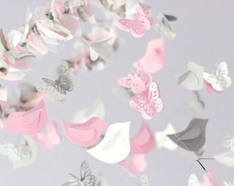 Pink Nursery Mobile Birds & Butterflies- Light Pink, Gray, White- for Nursery, Wedding Decor, Baby Shower Gift, Photographer Prop