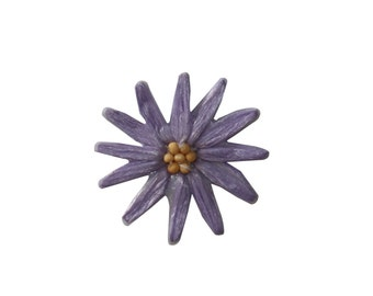 ID #6487 Waxy Purple Daisy Flower Plant Iron On Embroidered Patch Applique