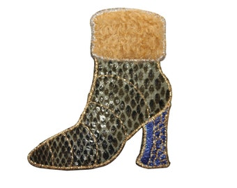 ID #7979 Fuzzy Snakeskin High Heel Fashion Iron On Embroidered Patch Applique