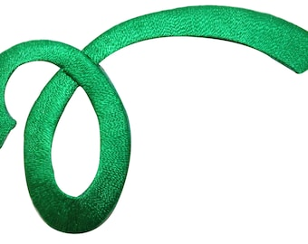 ID #9091 Green Loop Swirl Twist Shape Design Embroidered Iron On Applique Patch