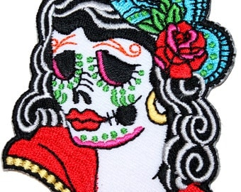 Sugar Skull Calavera Woman Mexican Day of the Dead Muertos IronOn Applique Patch