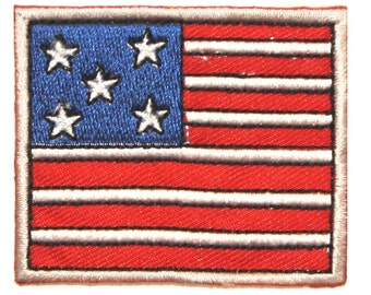 ID #1049 America Flag USA Patriotic US Embroidered Iron On Badge Applique Patch