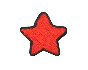 ID #1054A Red Star Patriotic Shape Colorful Embroidered Iron On Badge Applique Patch