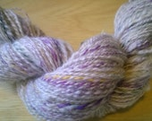 Handspun Yarn: 2 Ply in Finn with Purple, Green and Gold Merino
