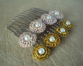 Flower Comb. Hair Accessories. Hair Comb. Handmade Hair Accessories.Wire Crochet Hair Comb..