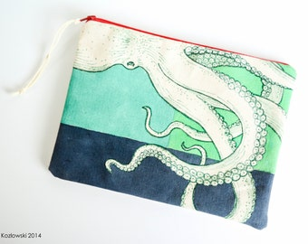 One-of-a-kind Hand Painted Octopus Clutch