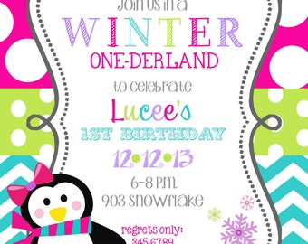 12   Winter onederland wonderland Christmas Holiday  Birthday Party Invitations with envelopes -penguin