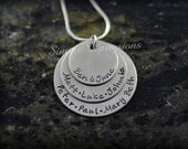 Personalized Triple Disc Mothers Necklace for Women
