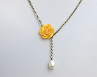 Yellow Rose Drop necklace, Simple Yellow Necklace, Yellow Flower Necklace, Yellow Rose Necklace