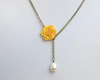 Yellow rose jewelry etsy yellow rose drop necklace simple yellow necklace yellow flower necklace yellow rose necklace mozeypictures Images