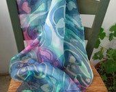 Hand Painted Long Silk Scarf - 'Tapestry of Hearts' in Marine Blue, Spring Green, White, Blossom Pink and Turquoise Boho, Romantic
