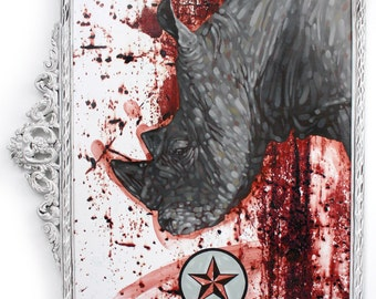Down Turn - Original MIXED MEDIA Oil Painting - Rhino - Animal - ANTIQUE Frame - Star - Rhinoceros