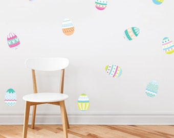 """Easter Eggs Printed Wall Decal 4"""" x 6"""" - Easter Decal, Easter Bunny Decal, Easter Wall Art, Easter Egg Decal, Easter Basket Decal"""