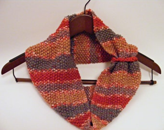 Stripe Knit Cowl, Red Ombre Scarf, Knit Scarf, Circle Scarf, Fall Infinity Scarf, Autumn Cowl