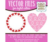 Loopy Heart and Heart Border Vector Digital Cut File (eps,svg, gsd,dxf, ai, jpg, png)