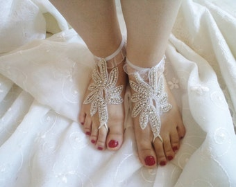 Wedding Sandals, Bridal Sandals, barefoot sandals,  Pearl Shoes, Rhinestone anklet, Beach wedding shoes, Beach Pool, Sexy Accessories