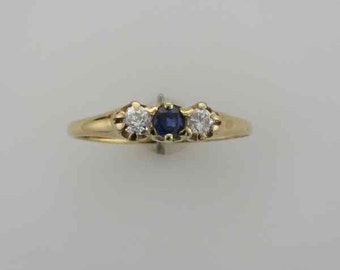Diamond and Blue Sapphire Band Ring; Diamond and Sapphire Wedding Ring; Straight Line Ring
