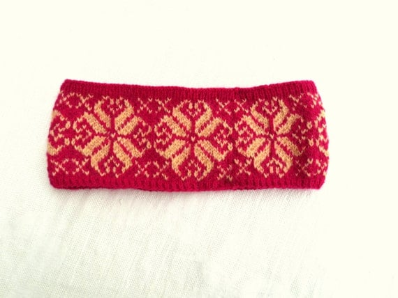 Nordic Headband Knitting Pattern : Hand knit Merino wool Nordic headband Scandinavian by ...