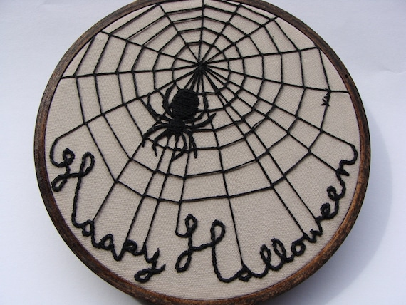 Halloween Wall Art, custom work available  - spider web, black spider, 4.5 inch wood hoop wall hanging, halloween decor, embroidered spider