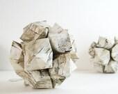 1 Birch Print Paper Origami Kusudama Ball - Geometric Decor - Birch Paper Sculpture - Paper Ornament - Neutral Home Decor - Woodland Decor
