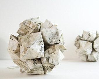 1 Birch Print Paper Origami Kusudama Ball - Geometric Decor - Birch Paper Sculpture - Paper Ornament - Neutral Home Decor - Woodland Decor