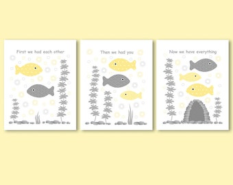 First we had each other quote / saying, fish family, yellow and grey, gender neutral art for kids, boy, girl bathroom, nursery wall decor