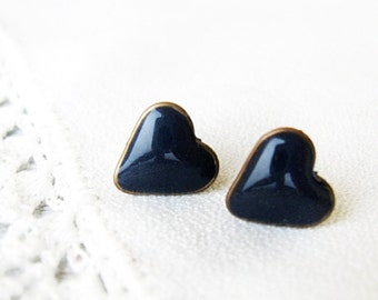 Stud Earrings, Navy Blue Heart Studs, Gift for her, Navy Blue Earrings, Heart jewelry, Heart earrings