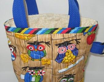 Preschool owl graduation tote bag, kids small graduation tote