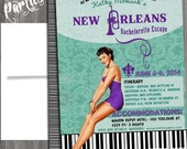 New Orleans Vintage Pin Up Girl Invitation- Bachelorette party, Hens night, Lingerie Shower print file PRINTED OPTIONAL