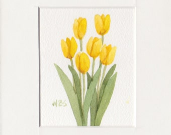 Yellow Tulip Group 5x7 Matted Original Watercolor by Wandas's Watercolors