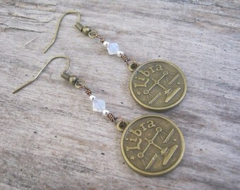 Personalized Libra Earrings, BRONZE Zodiac Earrings, Sapphire White Opal Swarovski Birthstone, Astrology Earrings, September October Jewelry