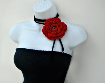 Crochet Lariat Scarf, Crochet Red Flower Scarf, Black and Red Scarf, Crochet Jewelry, Fashion Scarf, Light Scarf, Womens Scarf