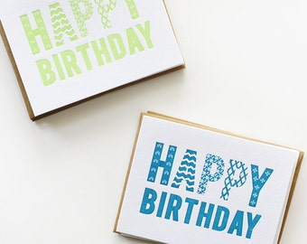 Letterpress Bold Birthday Cards / Pack of Cards / Variety Pack / Colorful Letterpress Cards