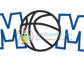 Basketball Mom Applique Machine Embroidery Design 5x7 and 6x10