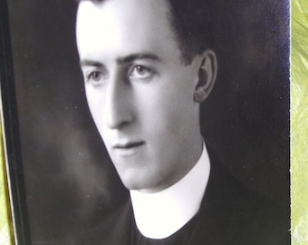 Vintage Photo....Reverend Minister......Roman Collar.......Study In Black and White