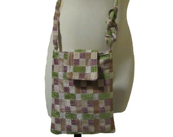 100- small bag, purse, checked fabric , handmade