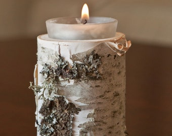 Birch votive candle holders