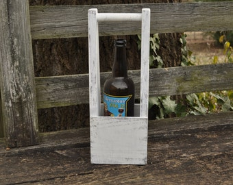 Handmade Shabby Vintage Style Wood Wine Tote Box / Bridesmaid Gift/ Craft Beer Bomber Tote