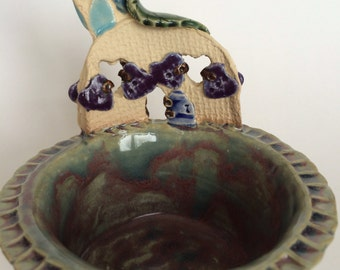 Fairy House Trinket or Condiment Bowl - Purple-Green