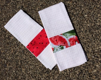 Kitchen Towel Set of Two (2) with Watermelon Pattern, Personalization Available, White Waffle Hand Towels