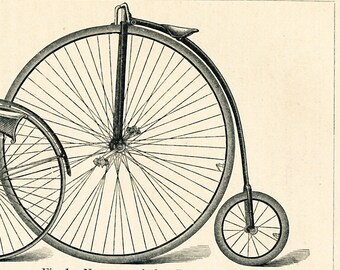 Bicycle print  high wheeler print  penny - farthing cripper tricycle military bicycle print : Antique 19th century engraving old book plate