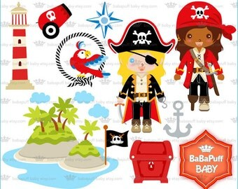 Pirate Girls Clip Art ---- Personal and Small Commercial Use ---- BB 0804
