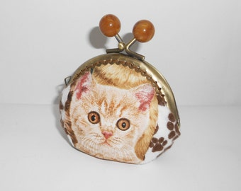 Kittens tortoiseshell  tabby paw print  coin/change pouch/purse/wallet w metal frame