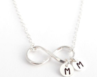 Personalized Necklace Infinity Necklace Mothers Necklace Mom Engraved Initials, Couples, Friends, Anniversary Wedding,STERLING & FINE SILVER