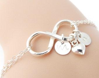 Infinity Bracelet, Personalized Infinity Bracelet & Silver Heart Charm, Valentine's Day, Wedding Jewelry, Bridal Jewelry, Initial Bracelet