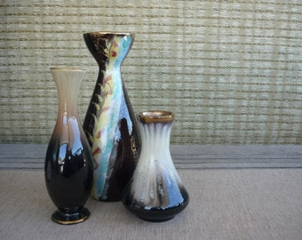 Set of 3 Vintage West German Pottery Vases, Instant Collection, Ceramic Vases, Mid Century Decor