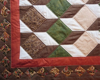 Quilted Wall Hanging in Earth Tones